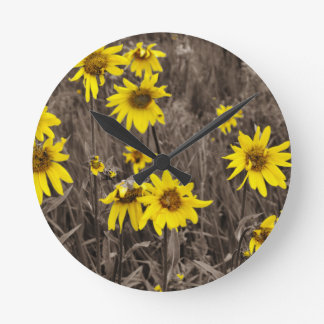 Sunflower in the Rocky Mountain Wall Clock