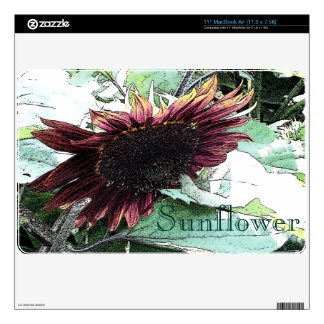 "Sunflower ""Ink Drawing"" Decal For MacBook"