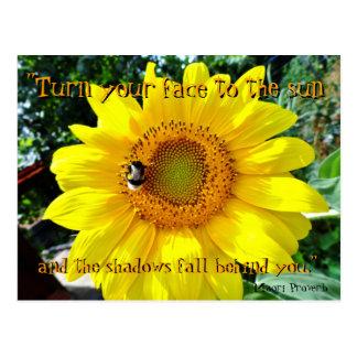 Sunflower inspirational postcard / Maori Proverb