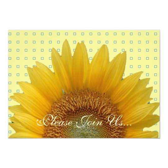 Sunflower Invitation with Squares 2
