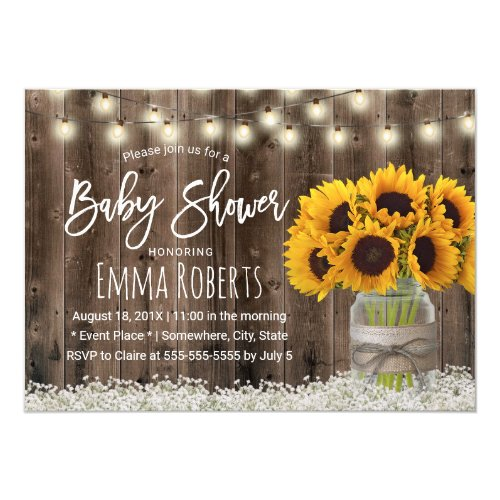 Sunflower Jar Country Floral Barn Wood Baby Shower Invitation