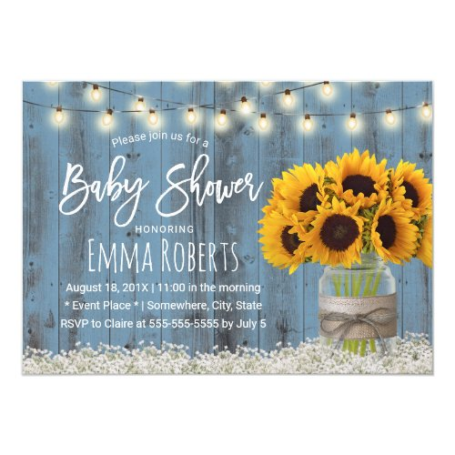 Sunflower Jar Dusty Blue Barn Wood Baby Shower Invitation