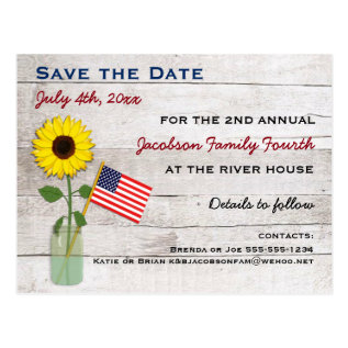 Sunflower July 4th Party Or Reunion Save The Date Postcard at Zazzle