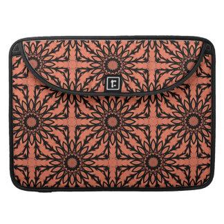 "Sunflower kaleidoscope in peach and black 15"" MacBook pro sleeve"