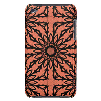 Sunflower kaleidoscope in peach and black iPod touch cases
