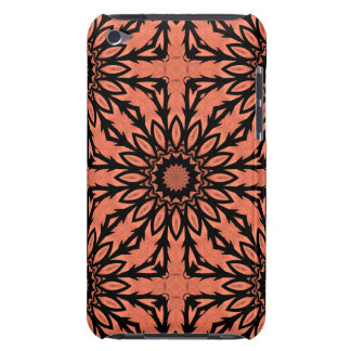 Sunflower kaleidoscope in peach and black Case-Mate iPod touch case