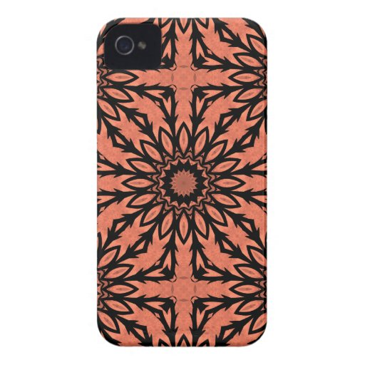 Sunflower kaleidoscope in peach and black iPhone 4 Case-Mate cases