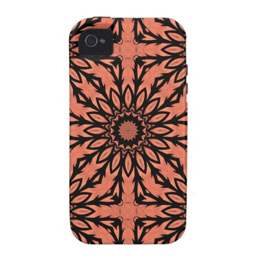 Sunflower kaleidoscope in peach and black iPhone 4/4S cover