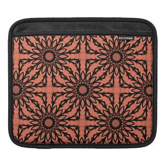 Sunflower kaleidoscope in peach and black iPad sleeve