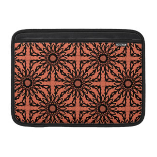 Sunflower kaleidoscope in peach and black MacBook sleeve