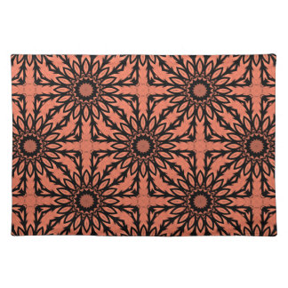 Sunflower kaleidoscope in peach and black placemat