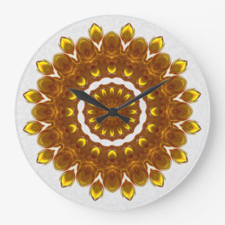Sunflower Kaleidoscope Mandala Large Clock