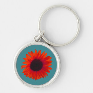 Sunflower Key Ring (Orange and Teal) Keychain