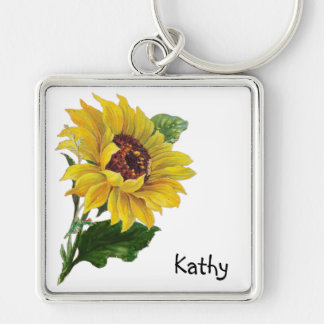 Sunflower Silver-Colored Square Keychain