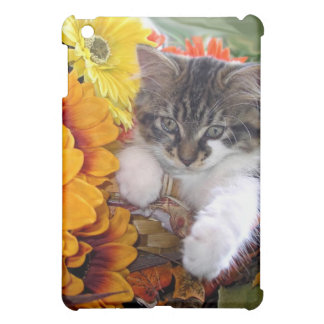Sunflower Kitty Cat in Colorful Orange Flowers iPad Mini Cover