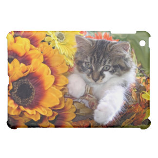Sunflower Kitty Cat in Colorful Orange Flowers Case For The iPad Mini