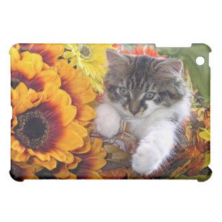 Sunflower Kitty Cat in Colorful Orange Flowers iPad Mini Cases
