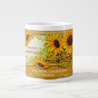 Sunflower Label Vintage - 1 Large Coffee Mug