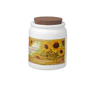 Sunflower Label Vintage - 2 Candy Jars