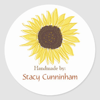 Sunflower Labels for Handmade items Classic Round Sticker
