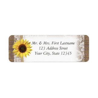 Sunflower Lace and Burlap Label