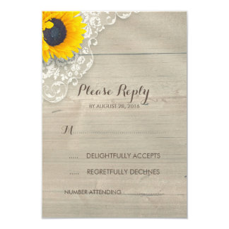 Sunflower Lace and Wood Rustic Wedding RSVP Card