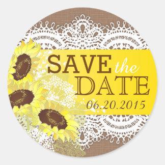 Sunflower Lace Burlap Rustic Save the Date Label
