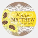 Sunflower Lace Burlap Wedding Label Classic Round Sticker
