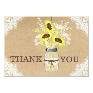 Sunflower Lace Kraft Modern Rustic Thank You