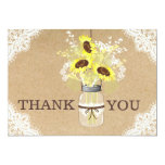 Sunflower Lace Kraft Modern Rustic Thank You Card