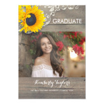 Sunflower Lace Photo Graduation Party Announcement