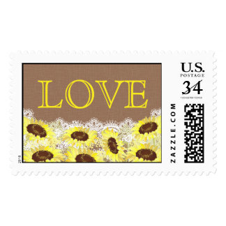 Sunflower Lace Rustic Love Wedding Postage