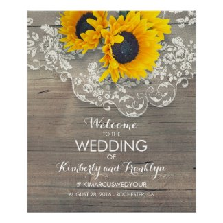 Rustic Sunflower and Lace Wedding Welcome Sign
