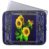 SUNFLOWER LAPTOP SLEEVE= BLUE AND GOLD SUNFLOWERS