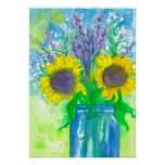 Sunflower Lavender Bouquet Poster