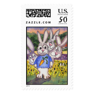 Sunflower Lavender Bunnies Custom Postage Stamps