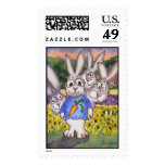 Sunflower Lavender Bunnies Custom Postage Stamps