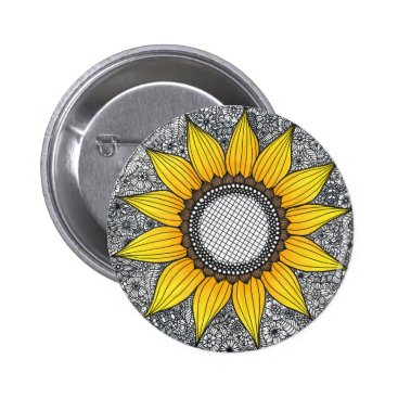 Beach Themed Sunflower Life Pinback Button