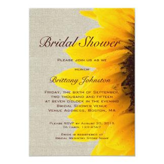 Sunflower Linen Rustic Bridal Shower Invitation