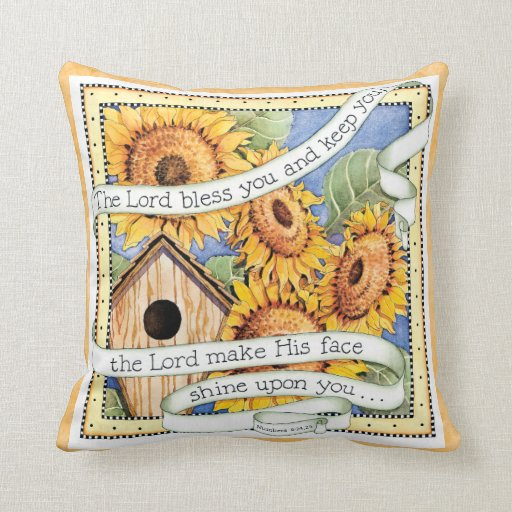 Sunflower - Lord Bless You - Throw Pillow