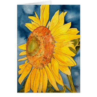 sunflower macro flower folk art greeting card