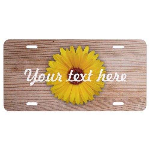 Sunflower Marigold on Rustic Wooden Boards License Plate