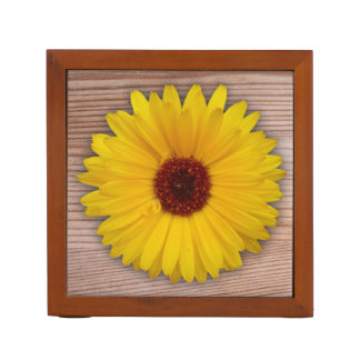 Sunflower Marigold on Rustic Wooden Boards Pencil Holder