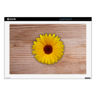 "Sunflower Marigold on Rustic Wooden Boards Decals For 17"" Laptops"