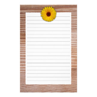 Sunflower Marigold on Rustic Wooden Boards Stationery