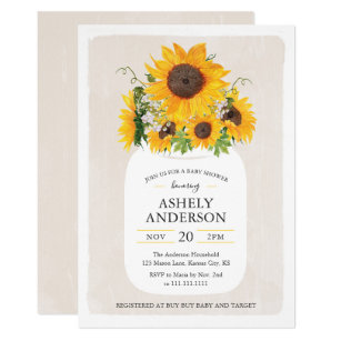 Sunflower baby shower invitations announcements zazzle sunflower mason jar baby shower invitation filmwisefo