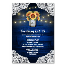 Sunflower Mason Jar Blue Wood Wedding Insert Cards