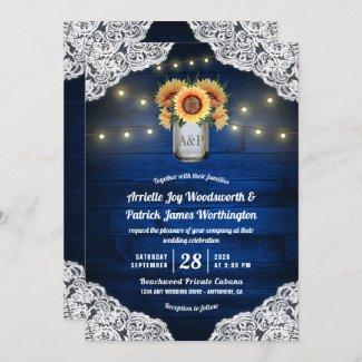 Sunflower Navy Blue Wedding Invitations Mason Jar Wood