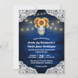 Sunflower Navy Blue Wedding Invitations, Wood, Mason Jar