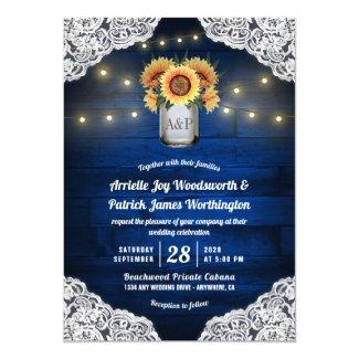 Sunflower Mason Jar Blue Wood Wedding Invitations